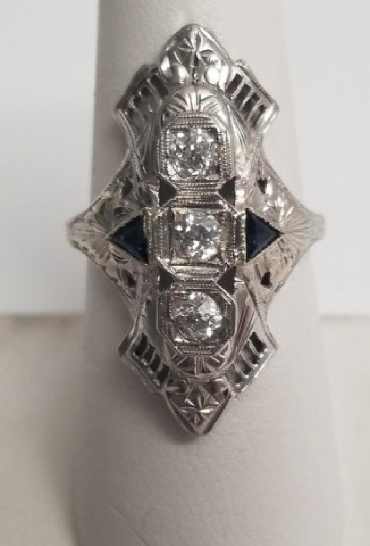 Estate Antique 14kt Art Deco Diamond Sapphire Ring