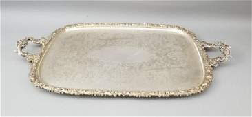 Antique Silver Plate French Rococo Serving Tray