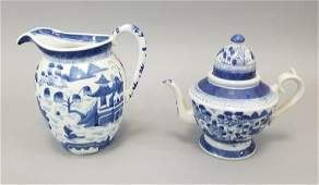 Chinese Canton Blue  White Porcelain Pitchers