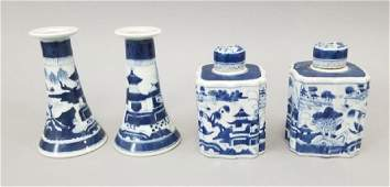 Chinese Canton Porcelain Tea Caddies  Candlestick