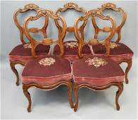 5 Victorian Carved Wood & Needlepoint Chairs