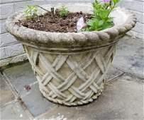 Pair Cast Stone Lattice Motif Garden Planter Pots