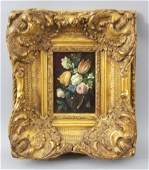 Small Oil / Canvas Floral Still Life by Michaelson