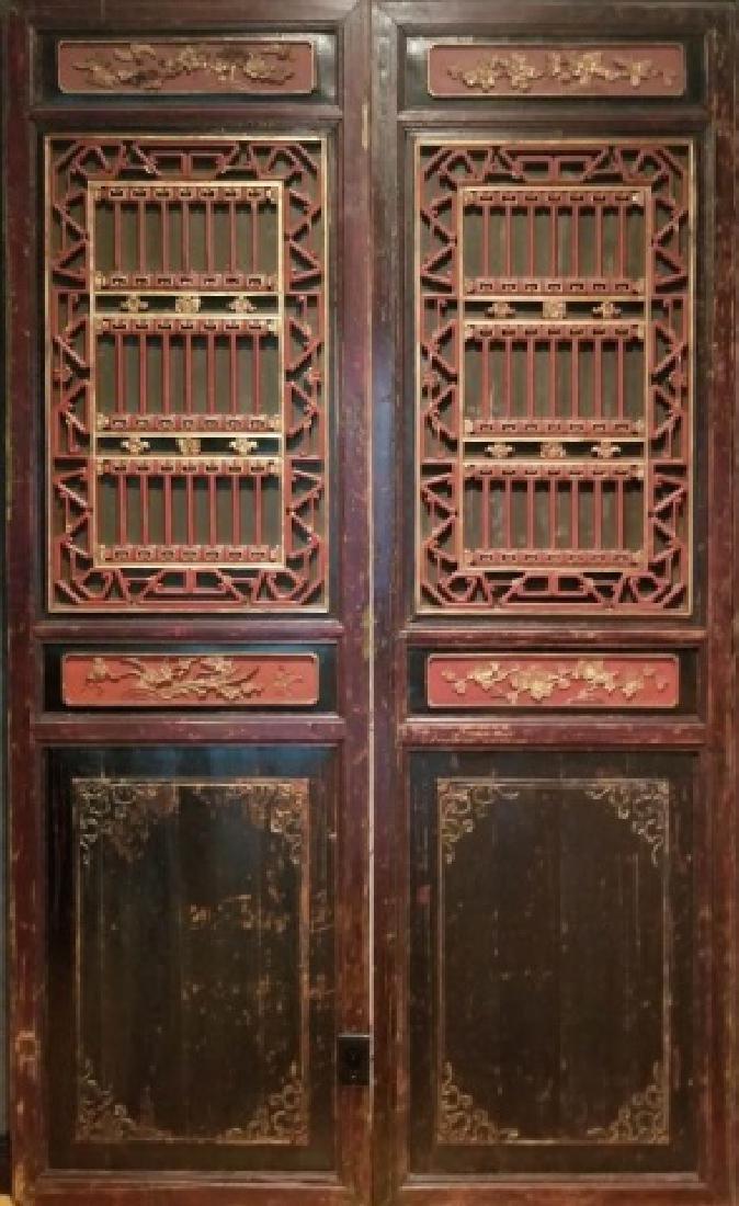 Pair Asian Carved & Gilt Wood Palace Door Panels