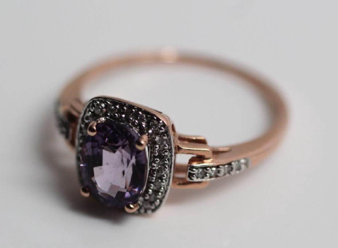 Pink Topaz & Diamond Ring in 14k Rose Gold