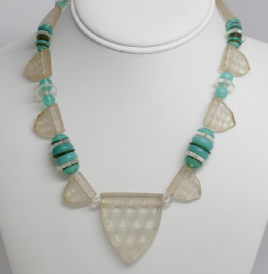 Antique 14kt Gold & Rock Crystal Shield Necklace