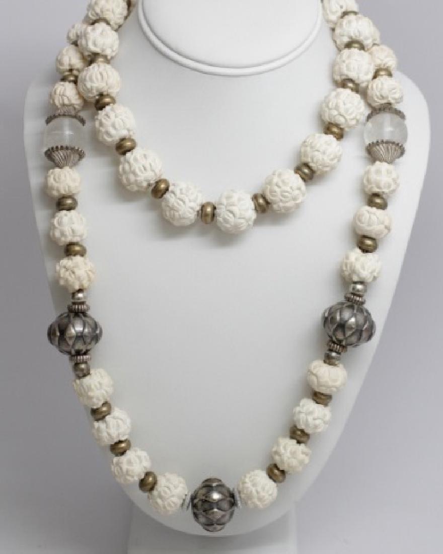 Vintage Carved Meerschaum & Silver Bead Necklaces