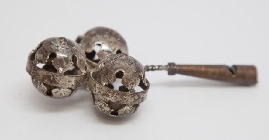 Antique Silver Plate Toy Whistle / Baby Rattle