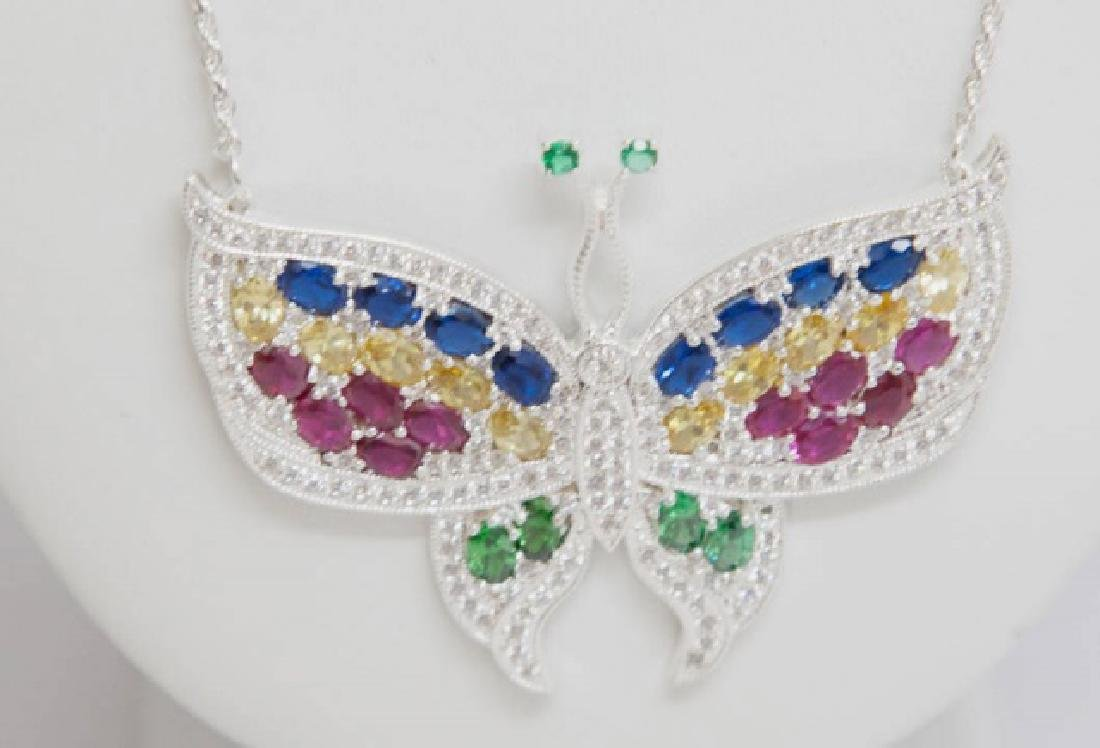 Sterling Silver w Colored CZ Butterfly Necklace