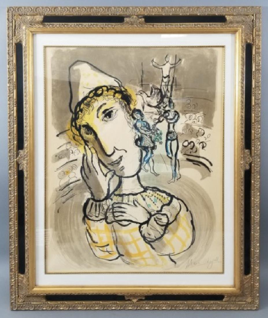Marc Chagall 1967 Print entitled Clown & Circus