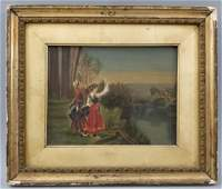 Antique Framed Continental Oil Painting on Canvas