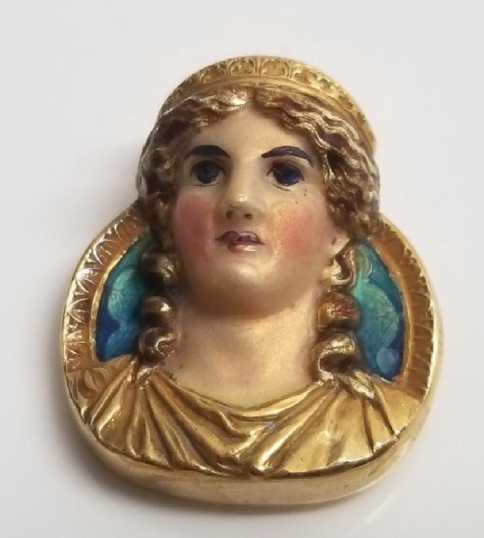 Antique 1908 14kt Gold & Enamel Bust Brooch Pin