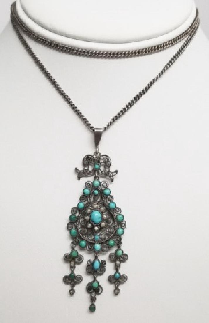 Antique Sterling & Silver Necklace w Turquoise