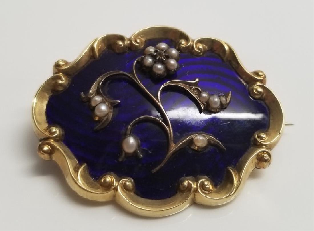 Antique 1820s English 14k Enamel Pearl Pendant
