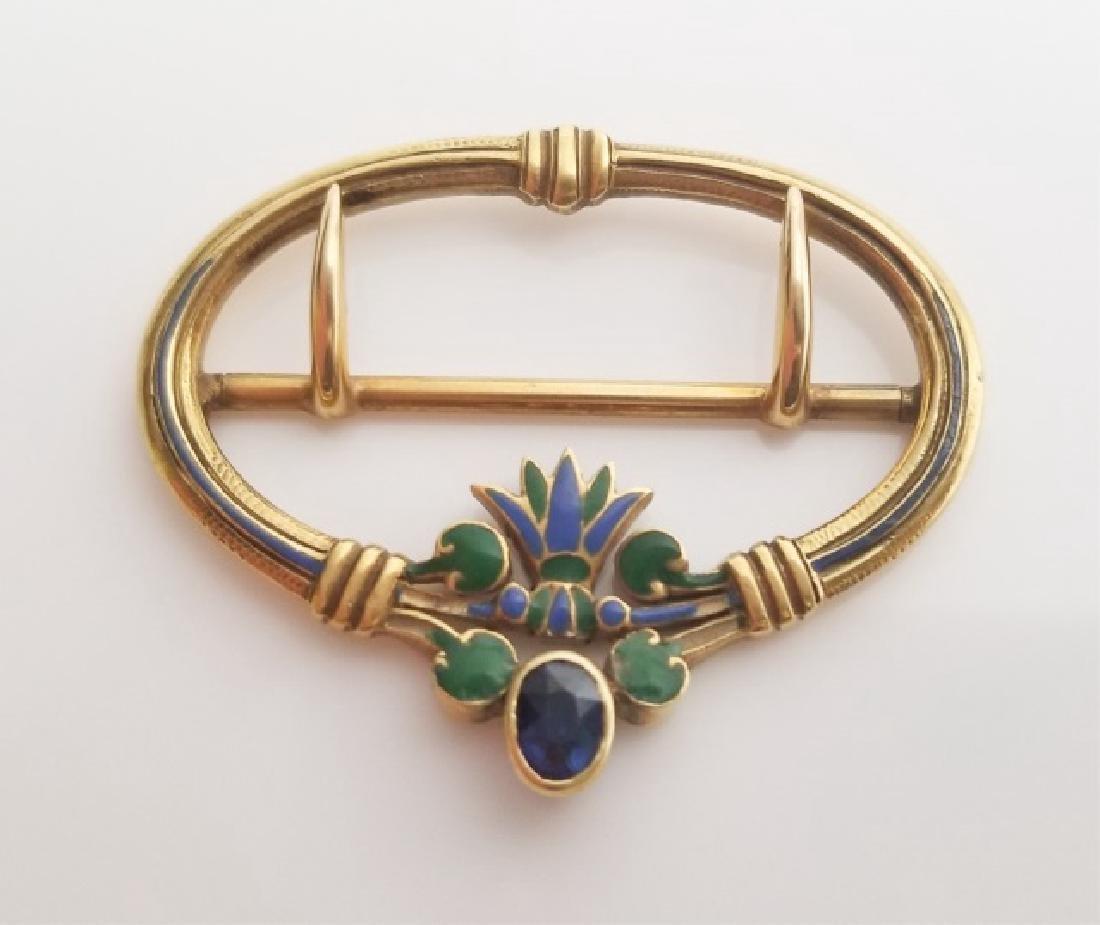 Louis Comfort Tiffany 18kt Gold Sapphire Buckle