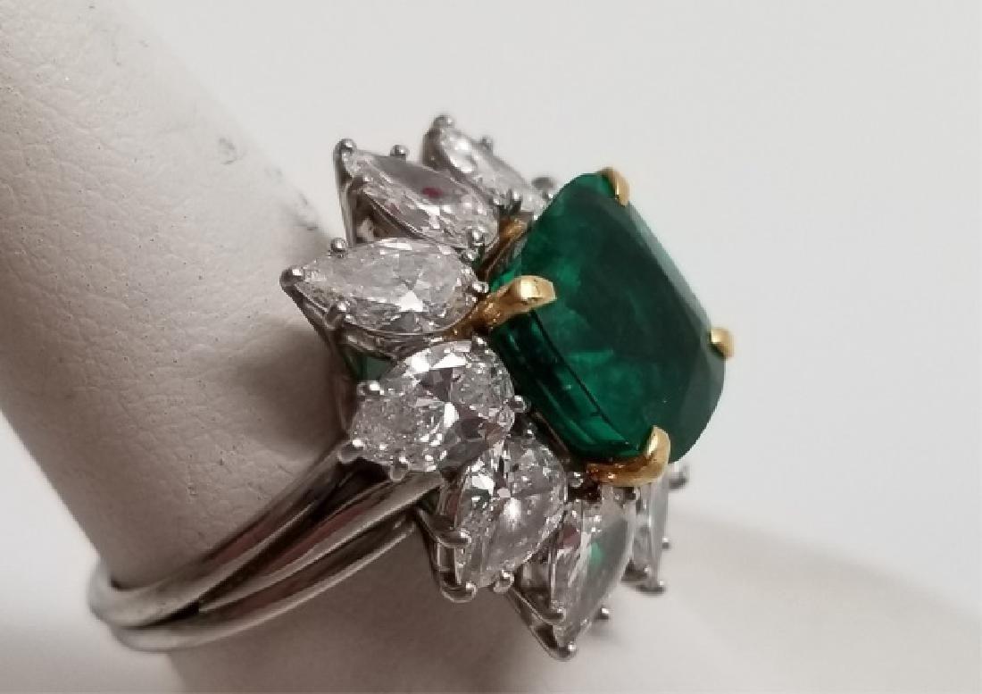 Impressive Estate 5 Ct Emerald 4.7 Ct Diamond Ring