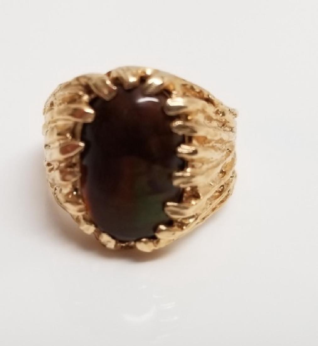 Estate Modernist 14kt Yellow Gold & Opal Ring