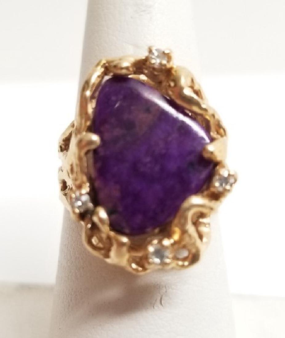 Estate Modernist Sugilite & Diamond 14kt Gold Ring