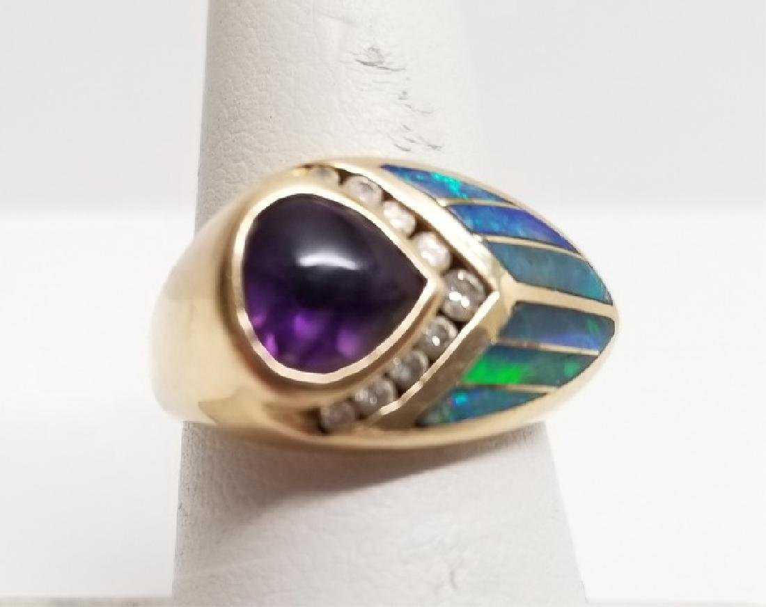 Estate Amethyst Diamond Opal & 14kt Gold Ring