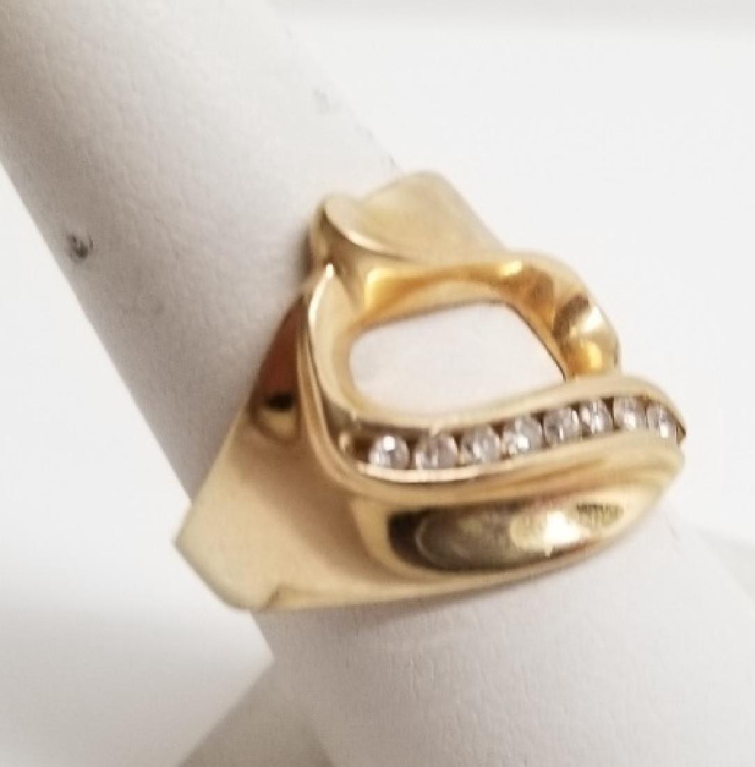 Estate Modernist 14kt Yellow Gold & Diamond Ring