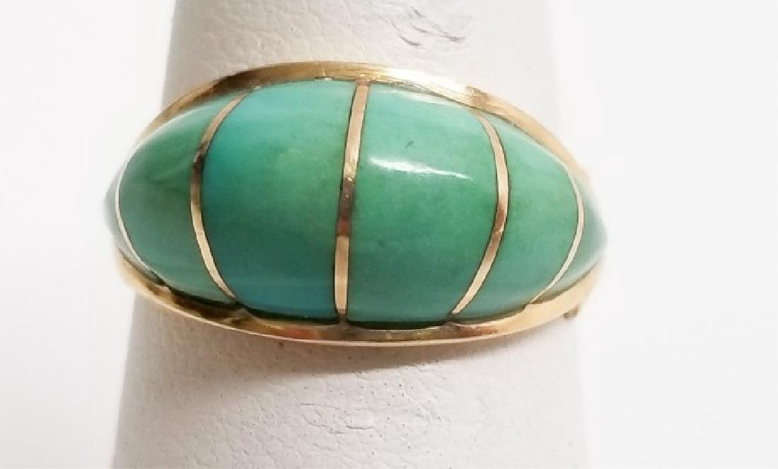 Estate 14kt Yellow Gold & Turquoise Dome Ring