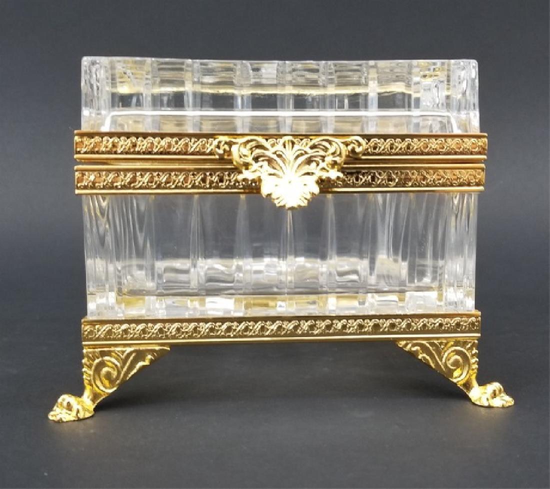 Antique French Cut Crystal & Ormolu Table Box