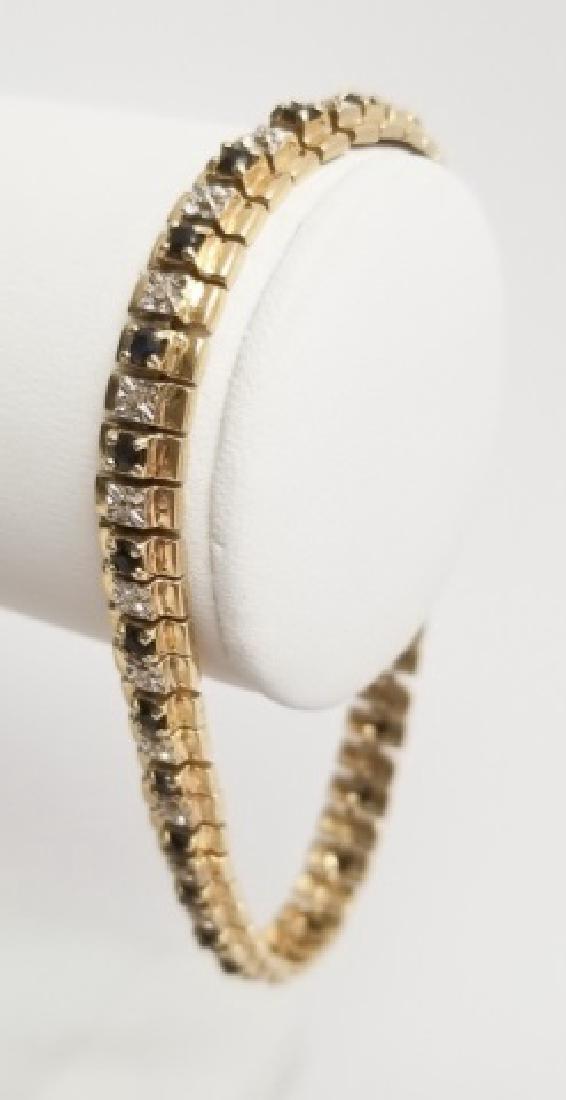 10k Yellow Gold & Diamond Ladies Link Bracelet