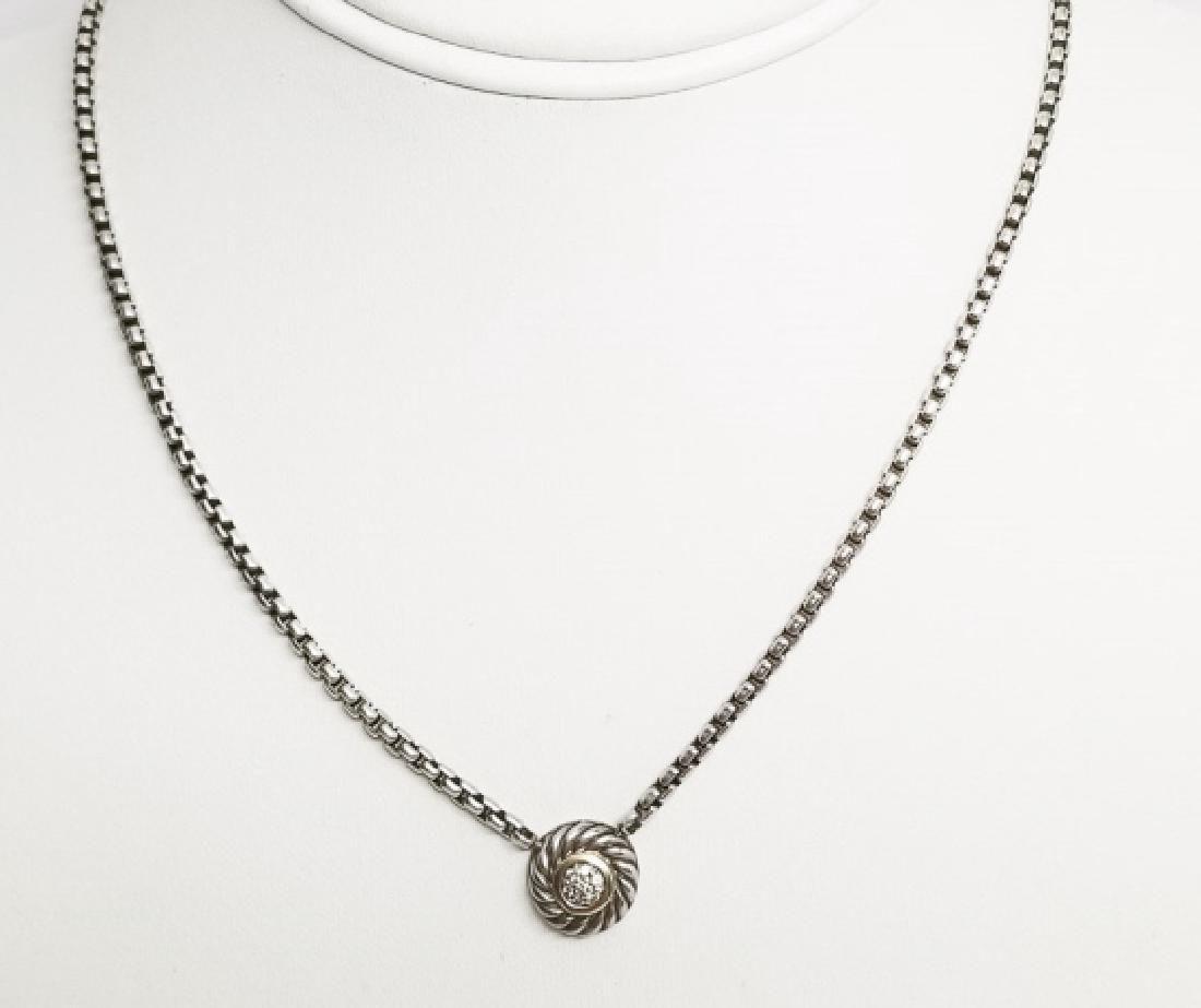 David Yurman 18kt Gold Diamond Pendant Necklace