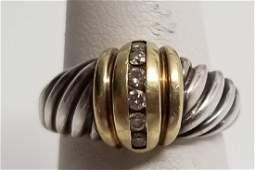 David Yurman 14kt Gold Sterling Cable Diamond Ring