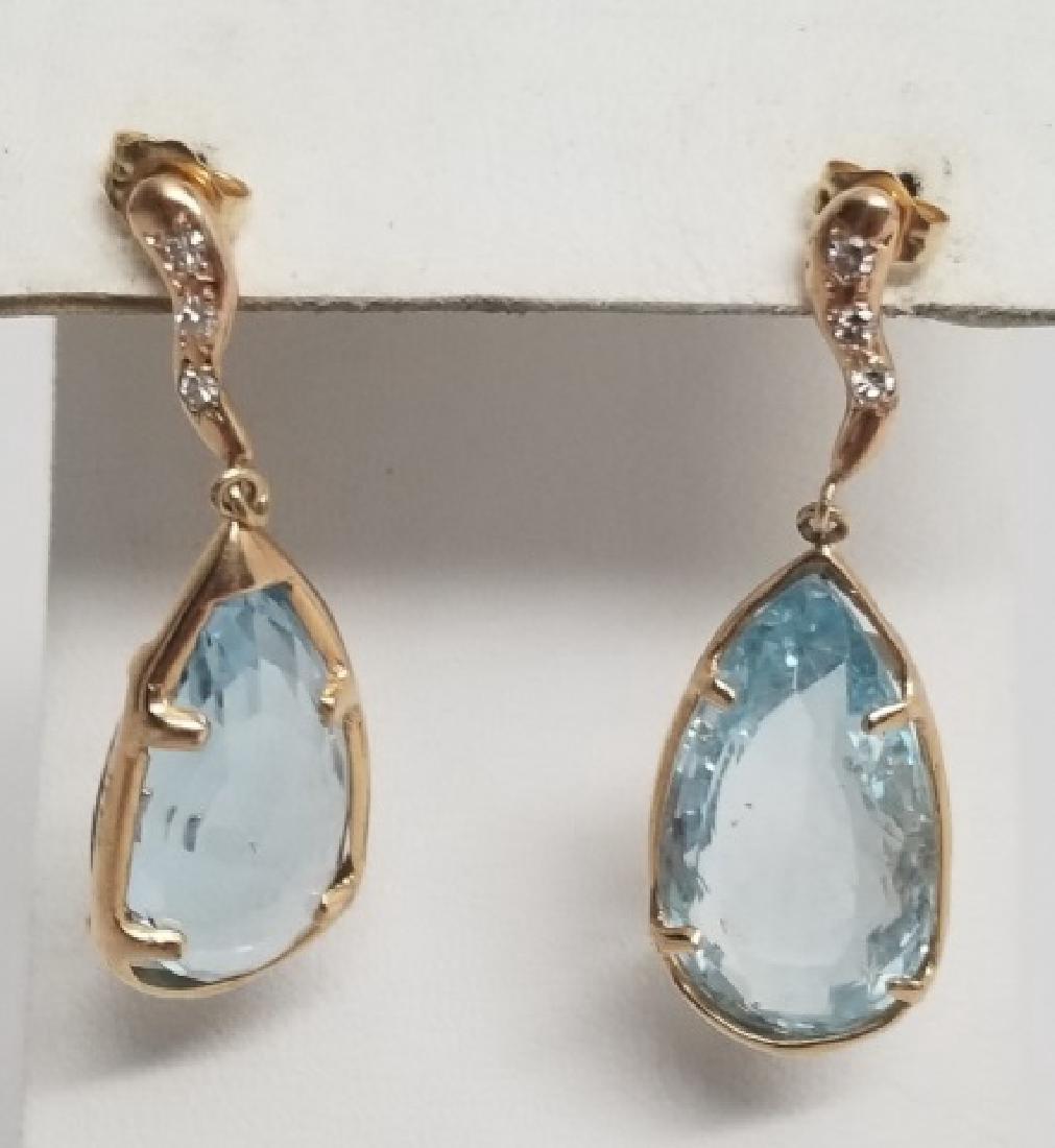 Estate Pair Blue Topaz & Diamond 14k Gold Earrings