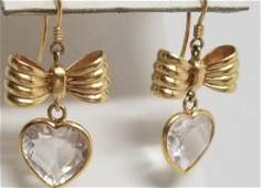 Pair 18kt Gold  Crystal Bow  Heart Earrings