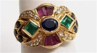 Etruscan Revival Style 18kt Ruby Diamond Ring