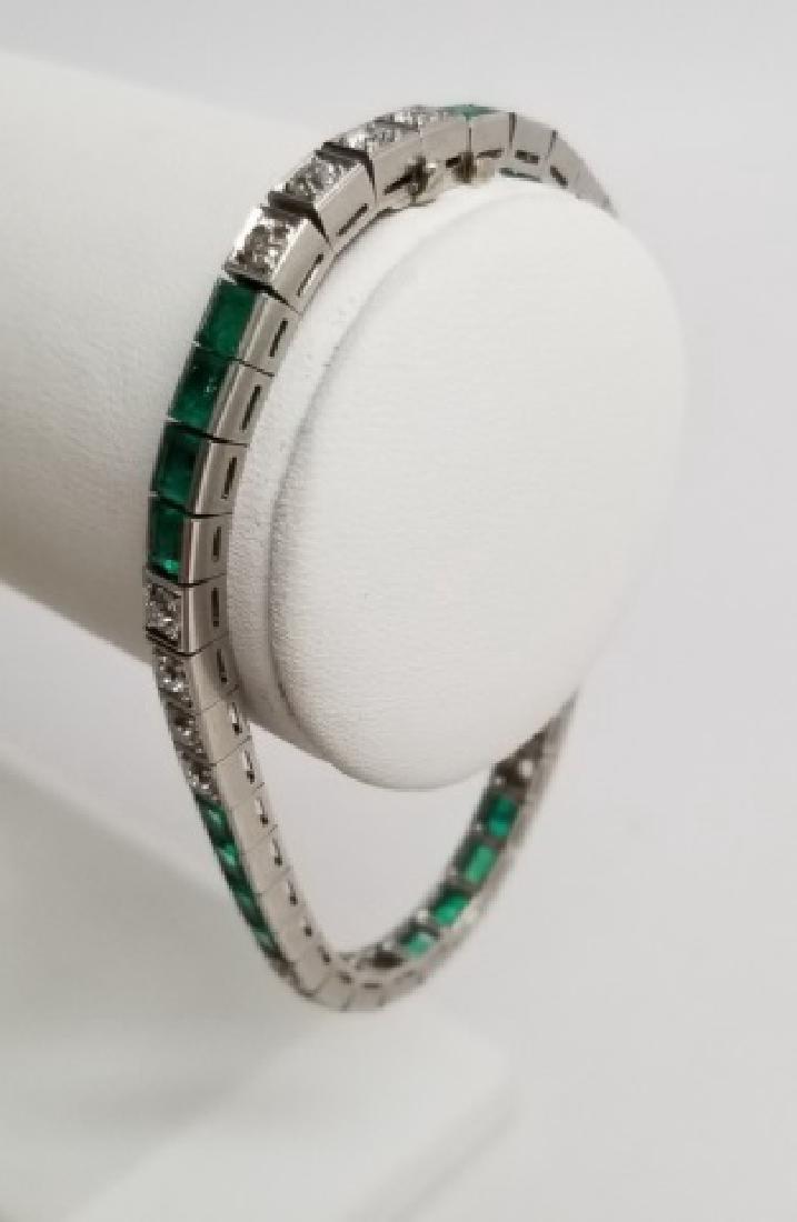 Estate Art Deco 2ct Diamond & Emerald Antique Bracelet