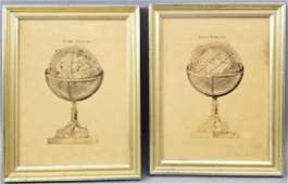 Pair Framed Antique French Prints of Globes