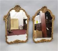 Pair Mid Century Antiqued Italian Wall Mirrors