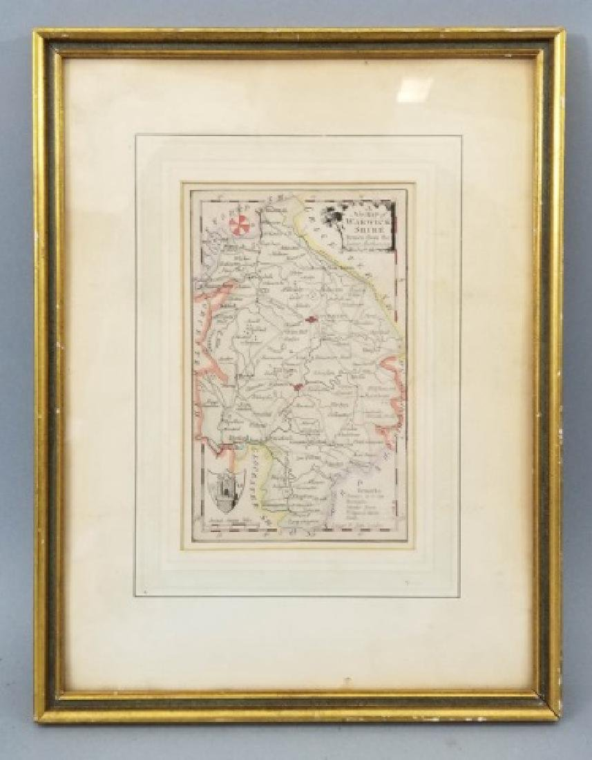 Antique Framed English Map of Warwickshire