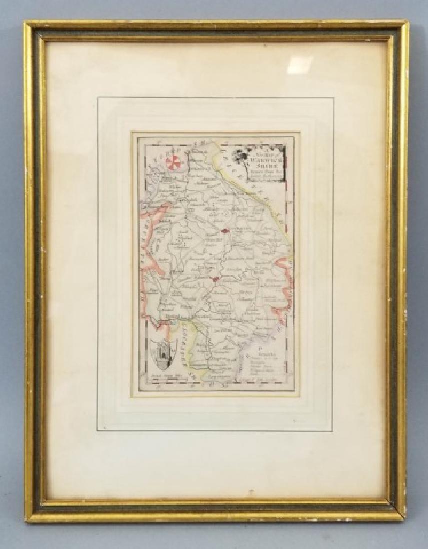 Antique Framed English Map of Warwickshire