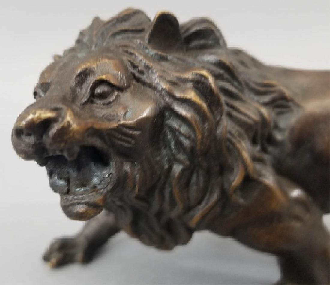 Bronze Table Statue - Detailed Roaring Pacing Lion - 3
