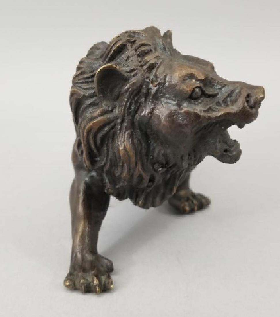Bronze Table Statue - Detailed Roaring Pacing Lion - 4