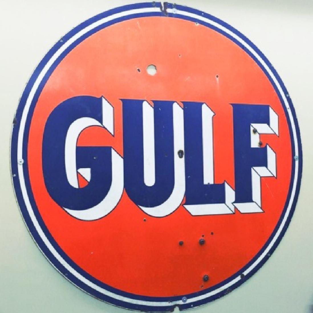 Huge Vintage GULF Oil Gas Station Metal Sign