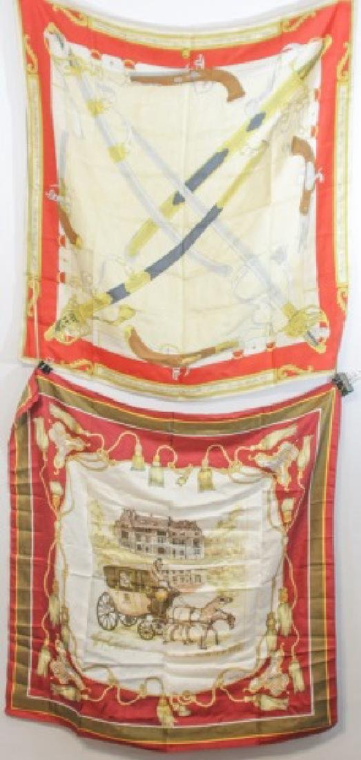 2 Designer Silk Scarves in French Style JF Martell