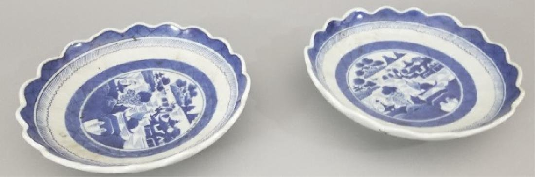 Pair Chinese Canton Porcelain Scallop Edge Plates