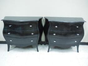 Two Black Faux Reptile Covered Chests/ Glass Tops