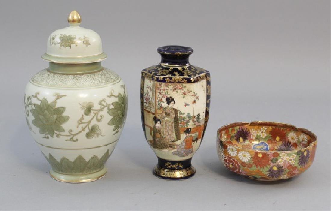 Group of 3 Japanese Porcelain Items Vase Satsuma
