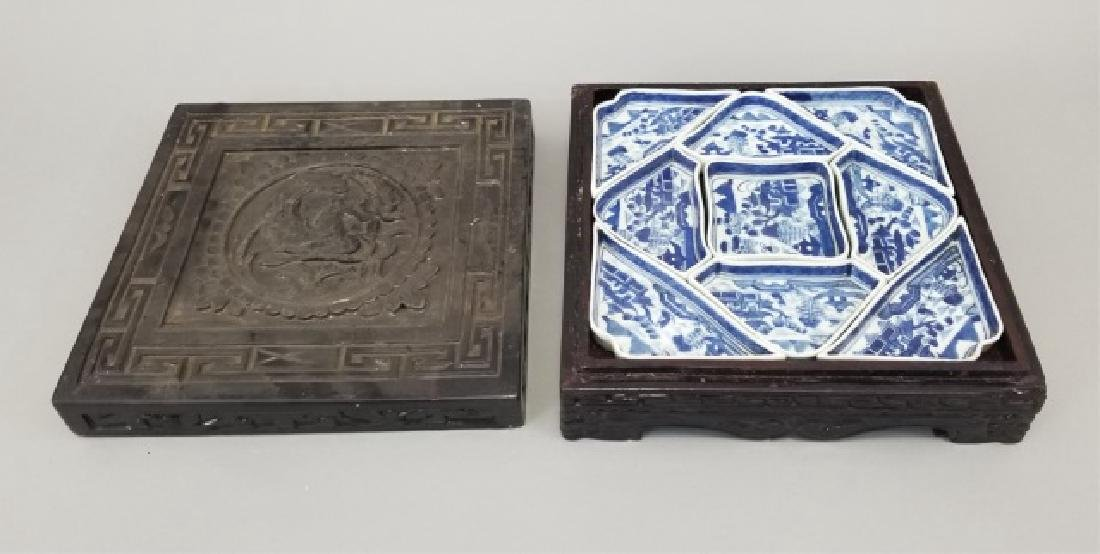 Chinese Canton Porcelain Condiment Dishes in Box