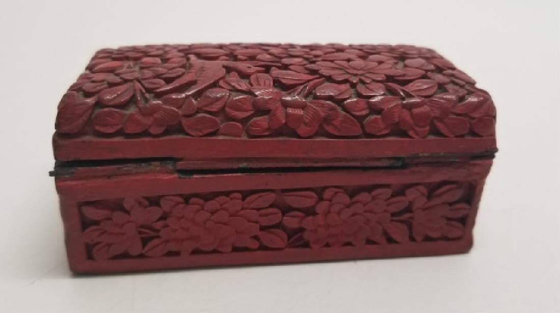 3 Antique Cinnabar Items Perfume Bottle & 2 Boxes - 6
