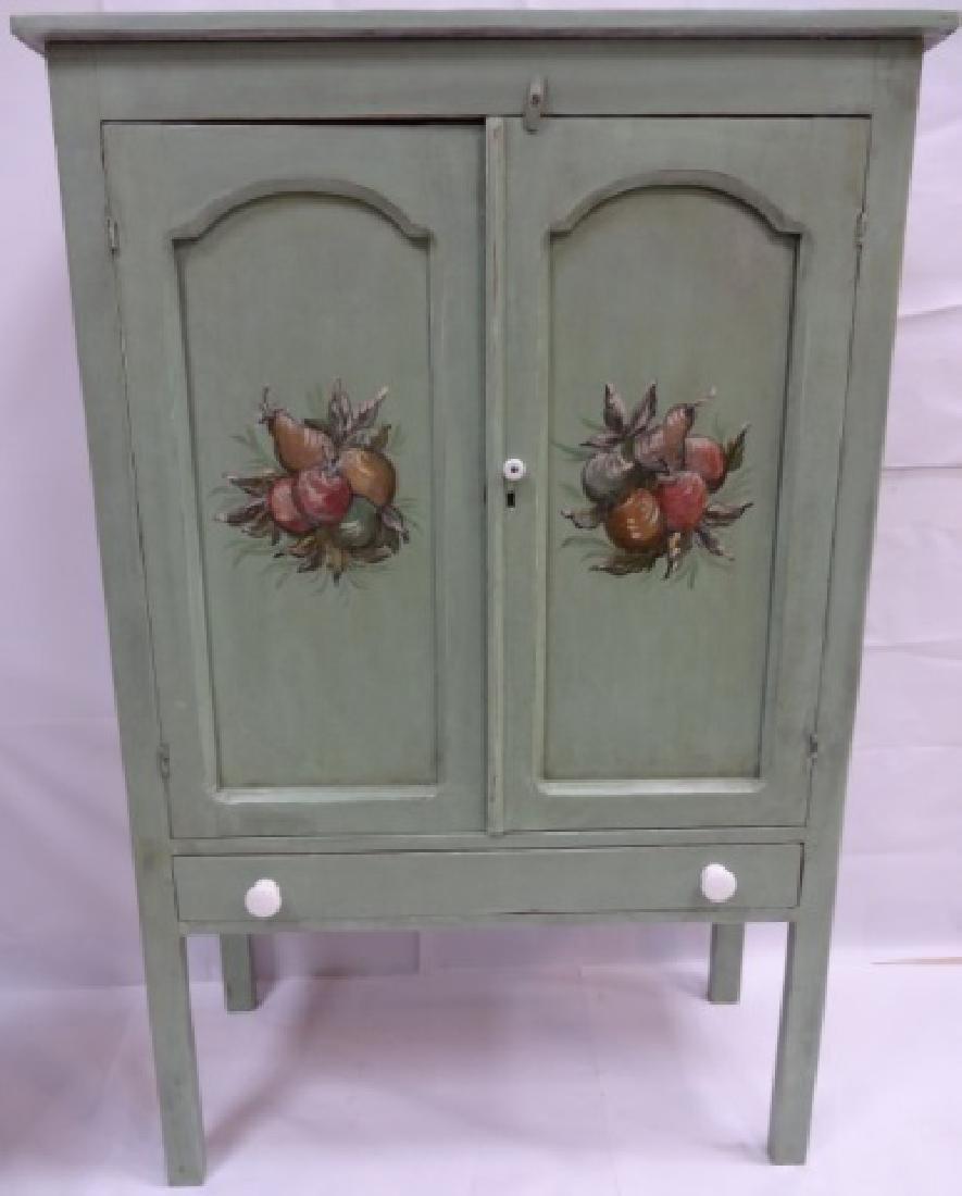 Vintage Swedish Painted Cabinet w/ Floral Motif