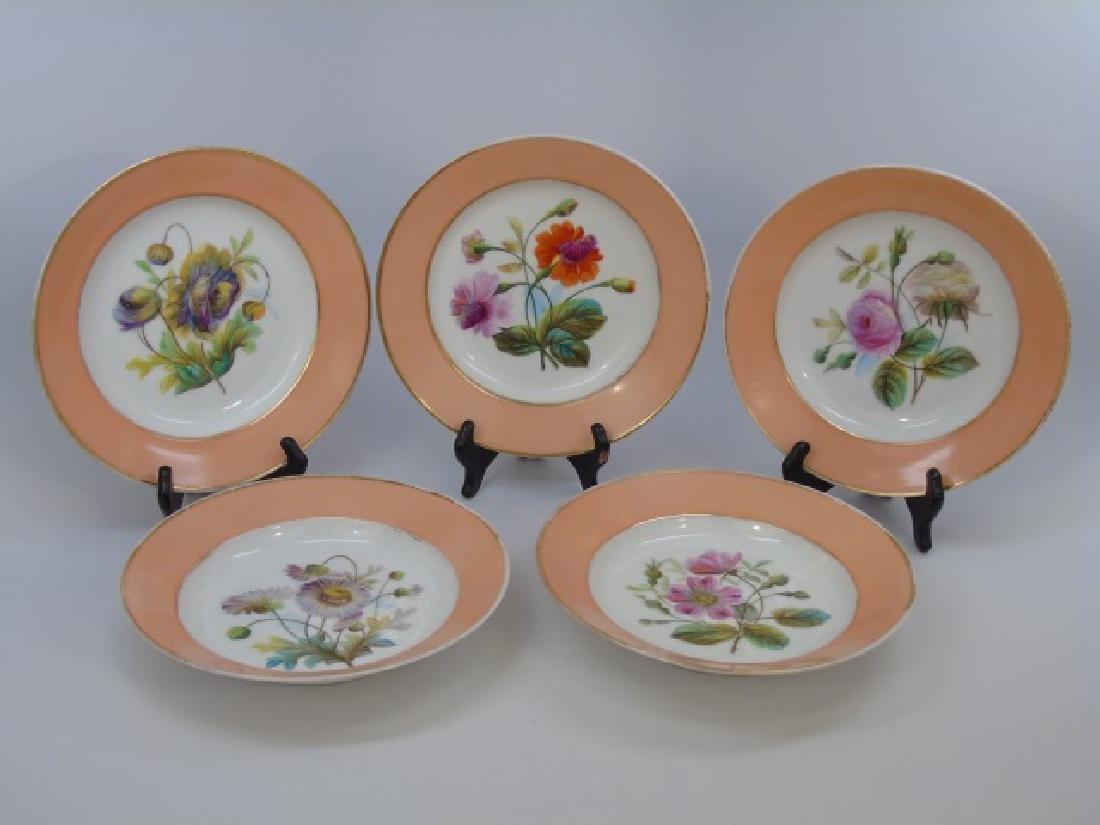 Set of Hand Painted Antique Dessert Plates & Bowls