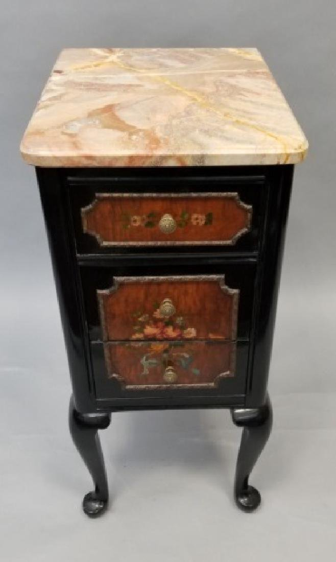 Marble-Topped Mahogany Floral Painted Side Table