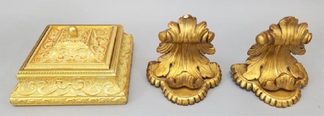Lidded Gold & Celadon Colored Box and Gold Sconces